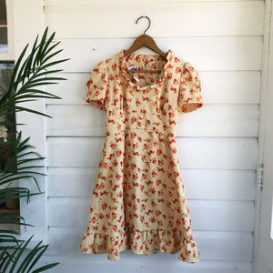 Vintage Girls Floral Ruffle Dress